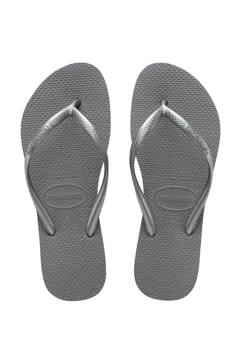 Havaianas Slim Metallic Steel Grey Thongs
