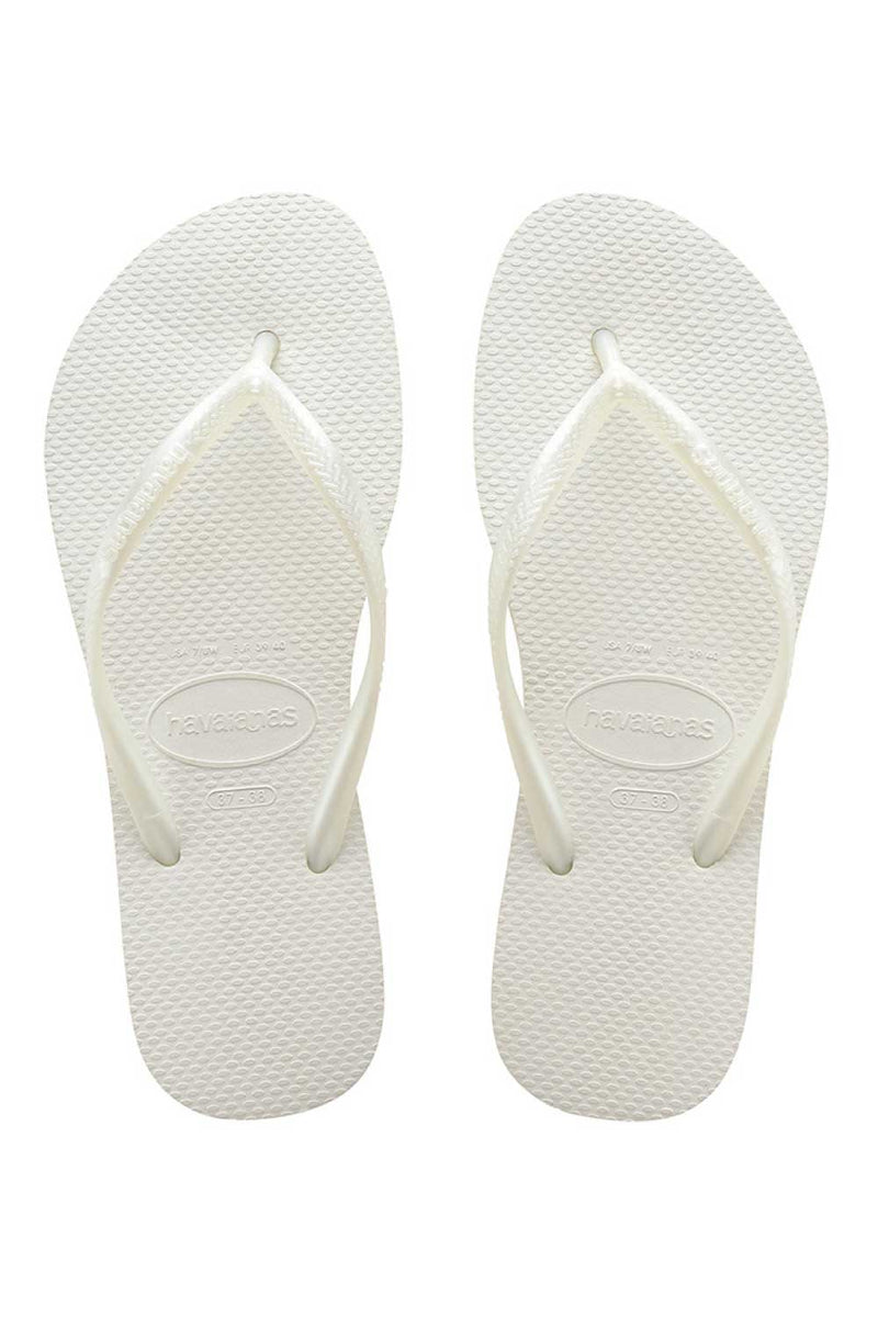 Havaianas Slim Metallic White Thongs