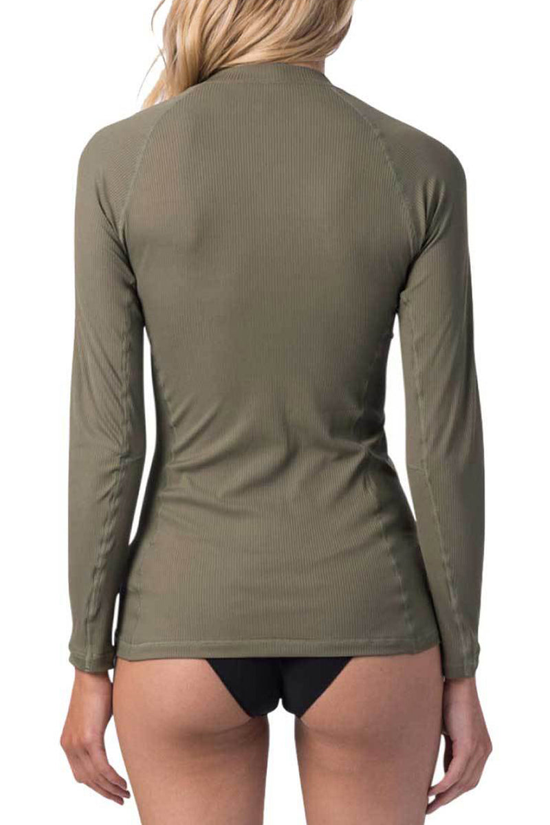 Rip Curl Premium Rib Zip Thru Long Sleeve UV Tee Rash Vest