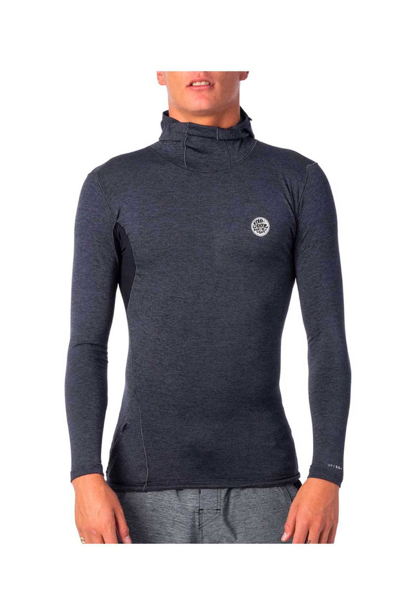 Rip Curl Mens Tech Bomb Long Sleeve UV Tee Rash Vest Hood