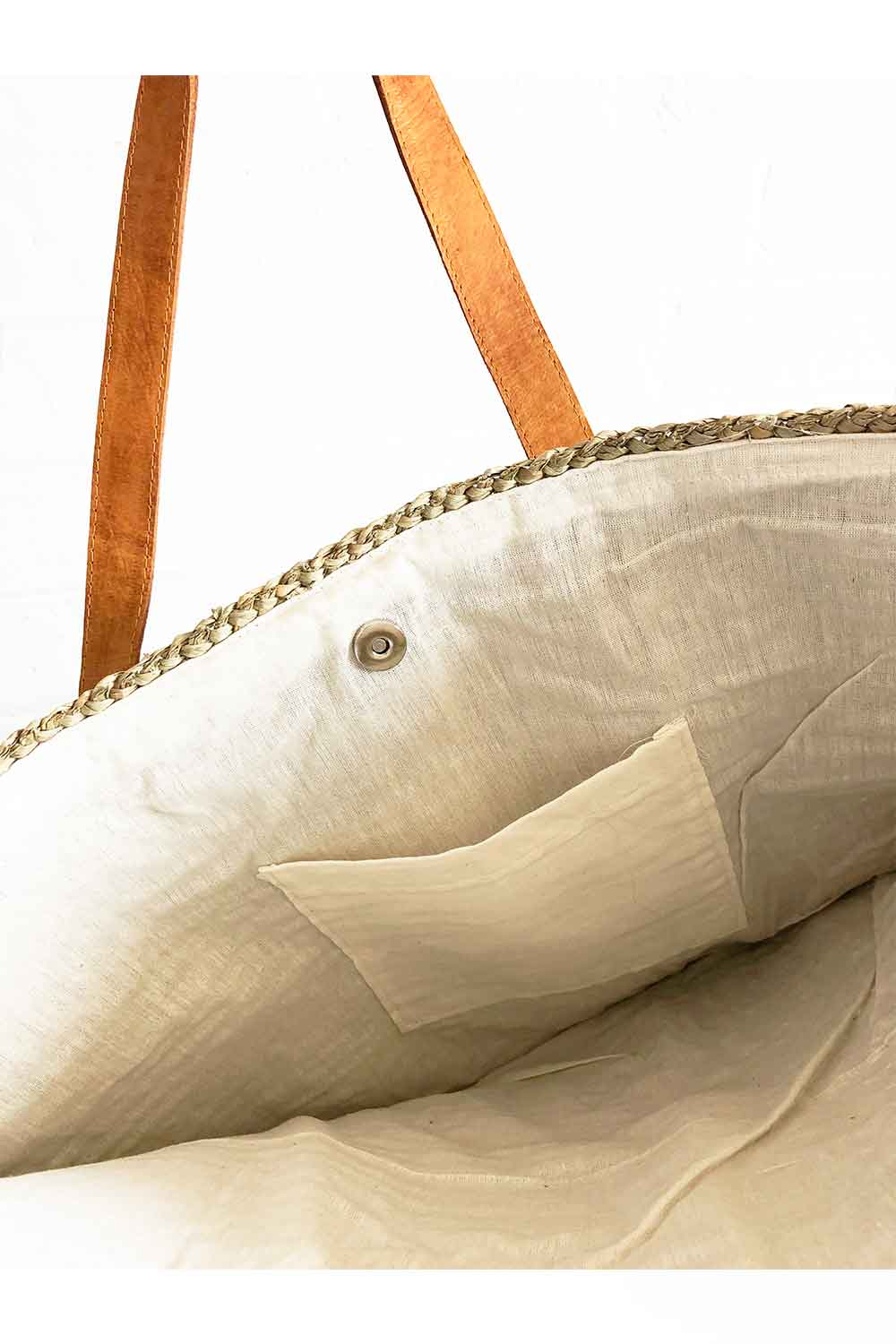 Sanbasics Basket Weave Beach Bag with Leather Strap