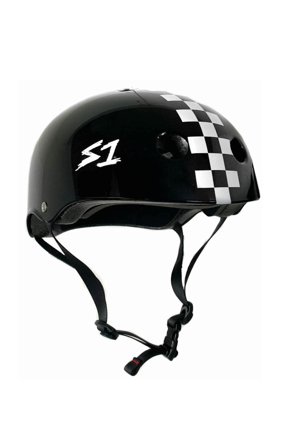 S1 Lifer Helmet - Black Gloss / White Checkers