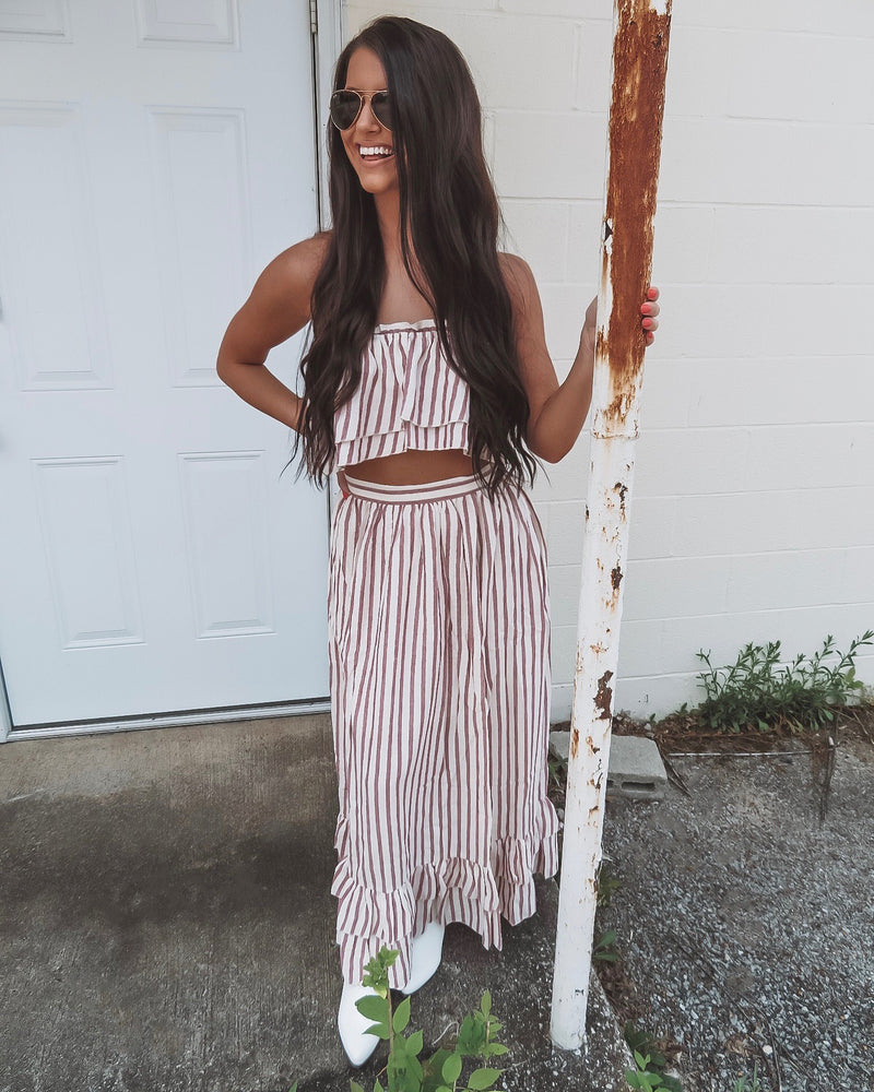 Cabo Two-Piece Striped Skirt Set