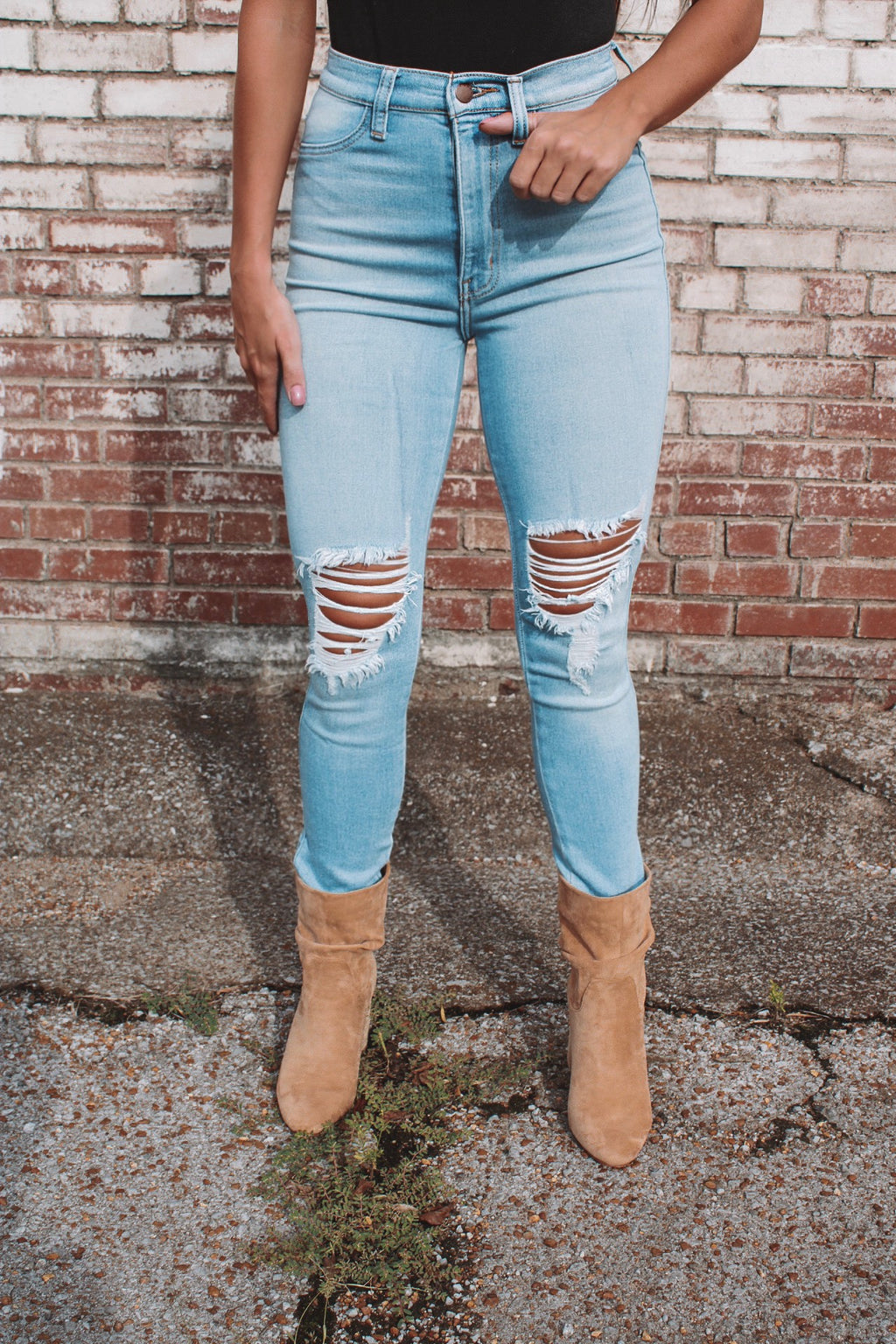 Say Yes High Rise Distressed Skinny Jeans