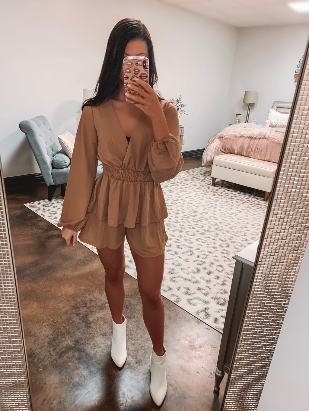 Bella Layered Romper - Light Clay