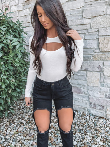 High Waisted Black Ribbed Biker Shorts