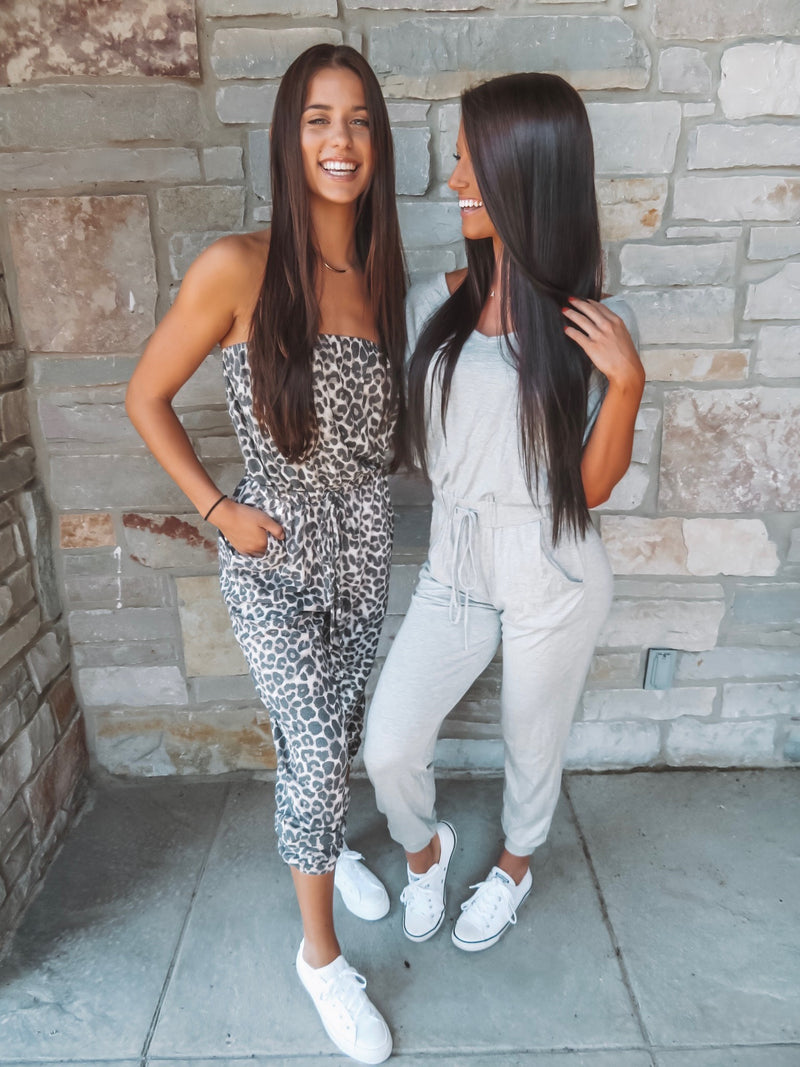 Heather Gray Short-Sleeve Jumpsuit
