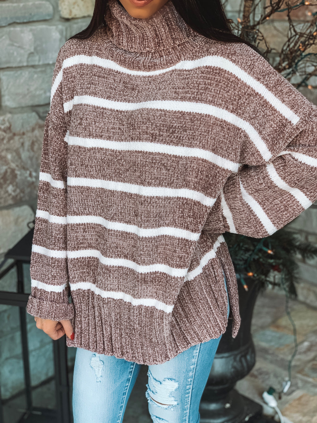 Blow Me A Kiss Mauve Striped Turtleneck Sweater