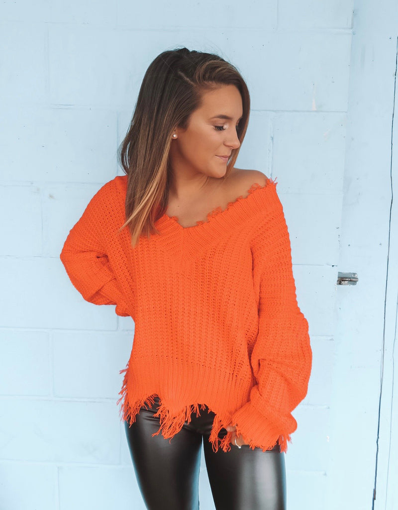 Neon V-Neck Frayed Sweater