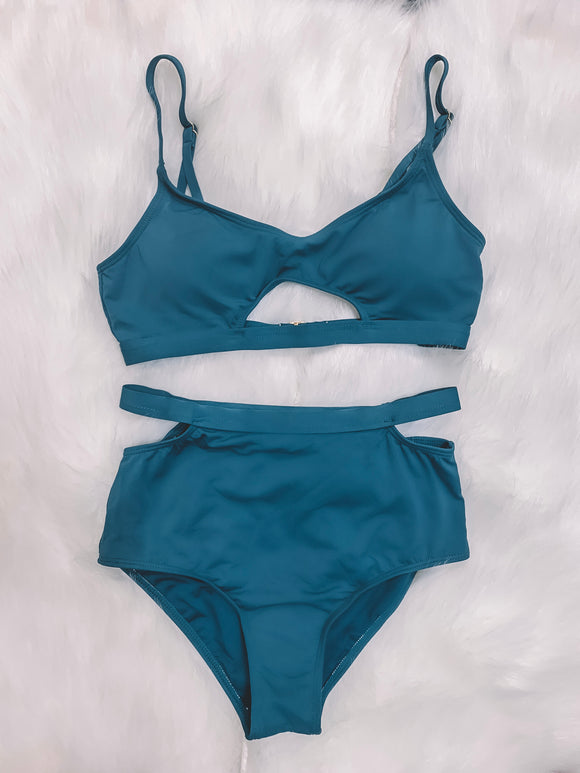 Cut The Waves Teal High Waisted Bikini