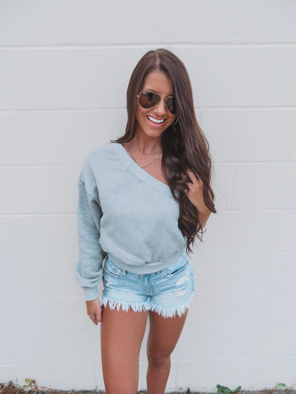 You're The One Grey One Shoulder Sweatshirt Top