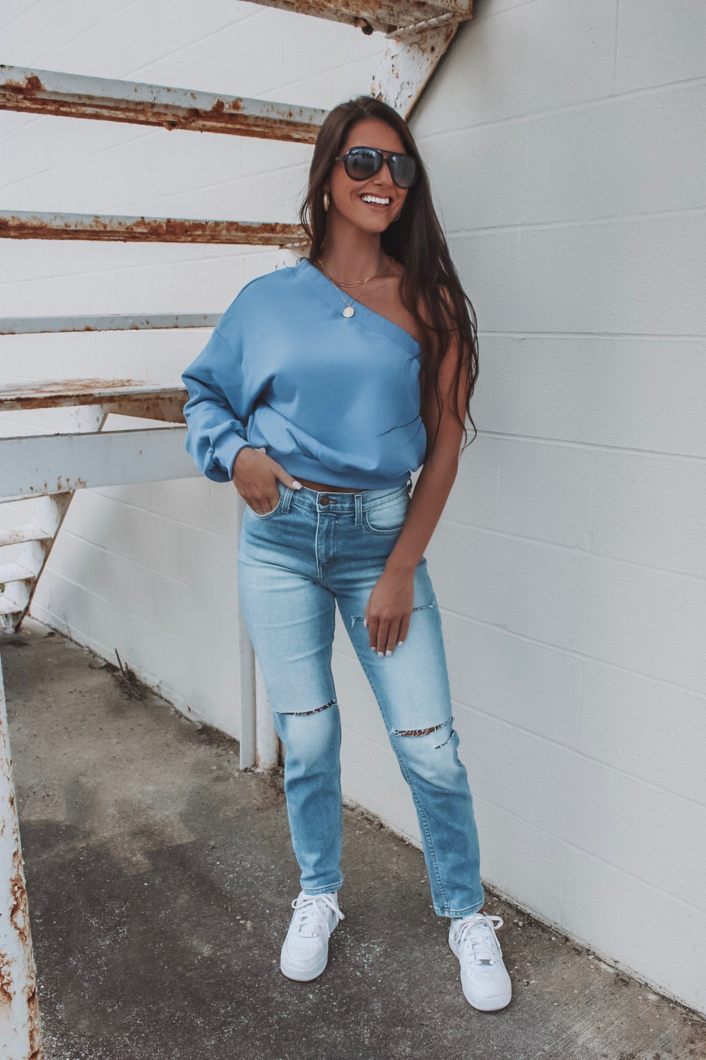 You're The One Blue One Shoulder Sweatshirt Top