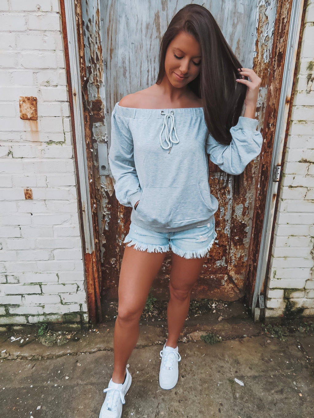 Let's Stay In Gray Sweatshirt Top