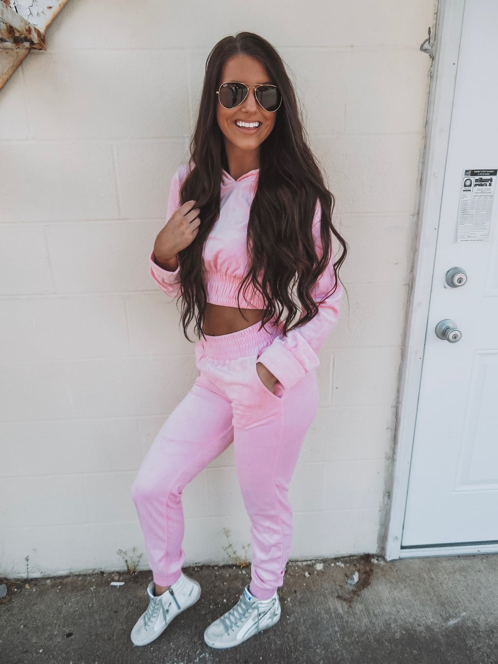 Barbie Girl Velvet Jogger Set - Pink