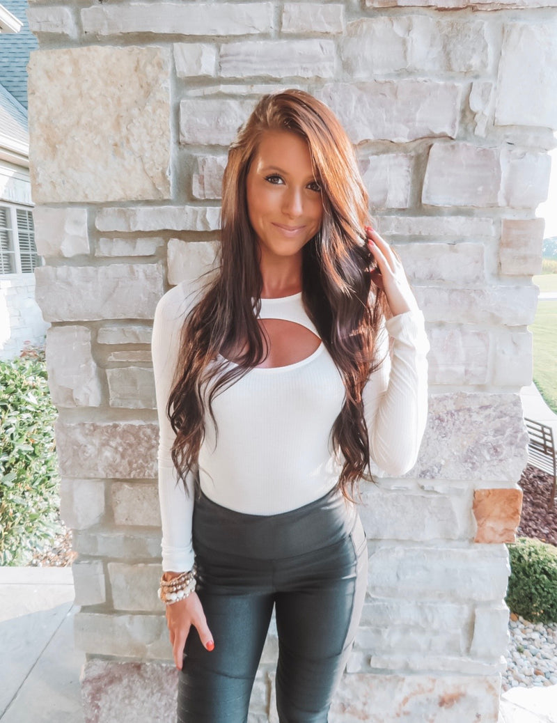 White Long Sleeve Cut-Out Bodysuit