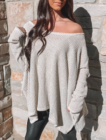 Frayed V-Neck Sweater - Maple Sugar