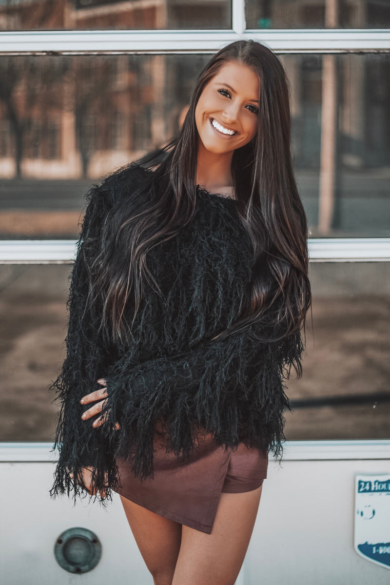 Drama Queen Black Fringe Sweater