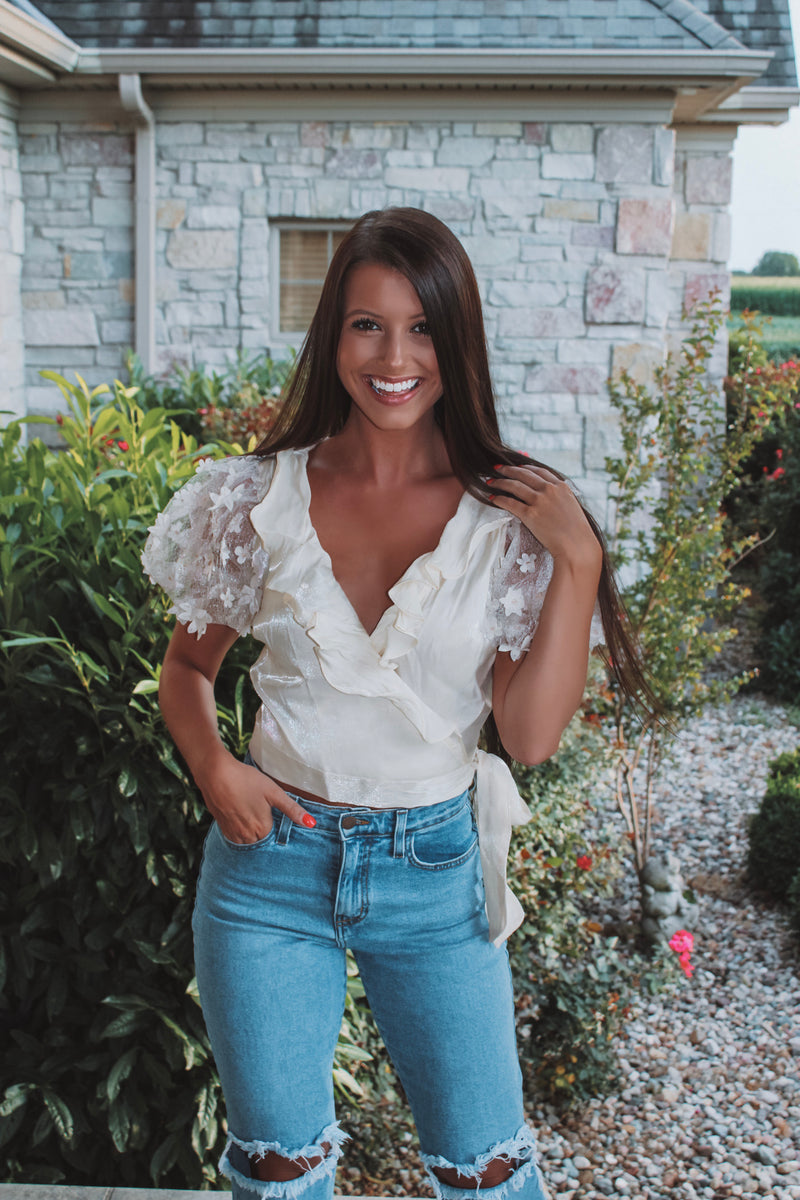 Wild Flower Floral Mesh Wrap Top