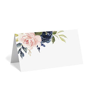 Navy Blue & Blush Pink Floral Place Cards (Pack of 50)