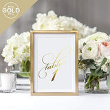 Gold Wedding Table Numbers (Assorted Color Options Available), Double Sided 4x6 Calligraphy Design, Numbers 1-25 & Head Table Card Included — from Bliss Collections …