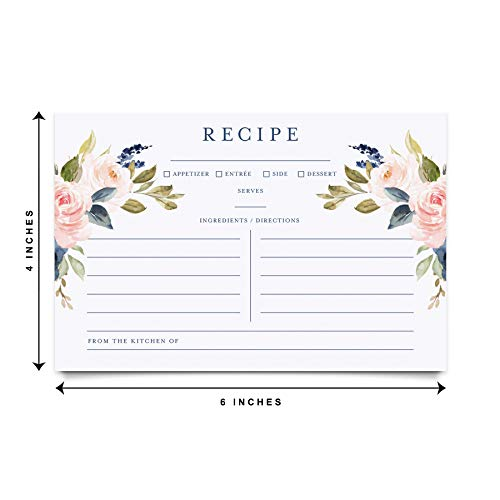 Navy Floral Recipe Cards 4x6 Double Sided, Navy Blue Floral and Blush Pink Flower Design for Bridal Shower, Wedding Shower, Housewarming Gift! Pack of 50 4x6 Cards