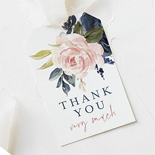 Navy Blue & Blush Floral Favor Thank You Tags (Pack of 50)