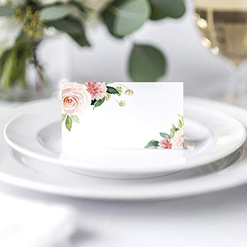 Boho Pink & Greenery Floral Place Cards (Pack of 50)
