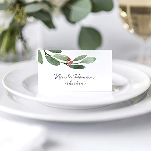 Greenery Foliage Holiday Place Cards (Pack of 50)