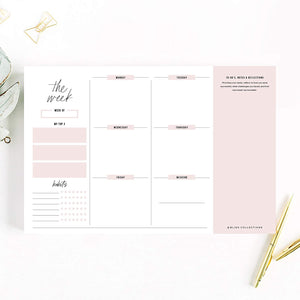 Weekly Planner with 50 Undated 6 x 9 Tear-Off Sheets, Simple Pink Self-Care Calendar and Organizer to Track Productivity, Goals, Tasks, Notes, to Do Lists - Keeps You Organized
