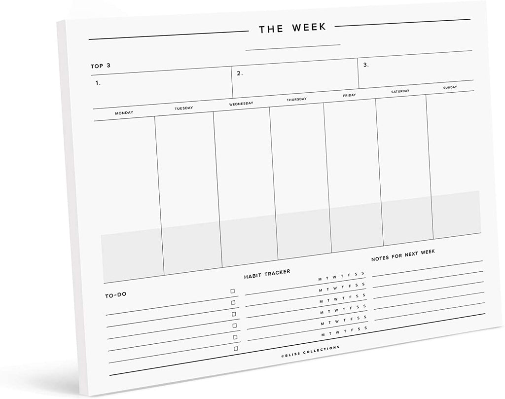 Minimalist Weekly Planner Tear Off Pad, 50 Undated Sheets, Desk Notepad, Daily Calendar, Task Planner, to Do List, Habit Tracker, 8.5x11