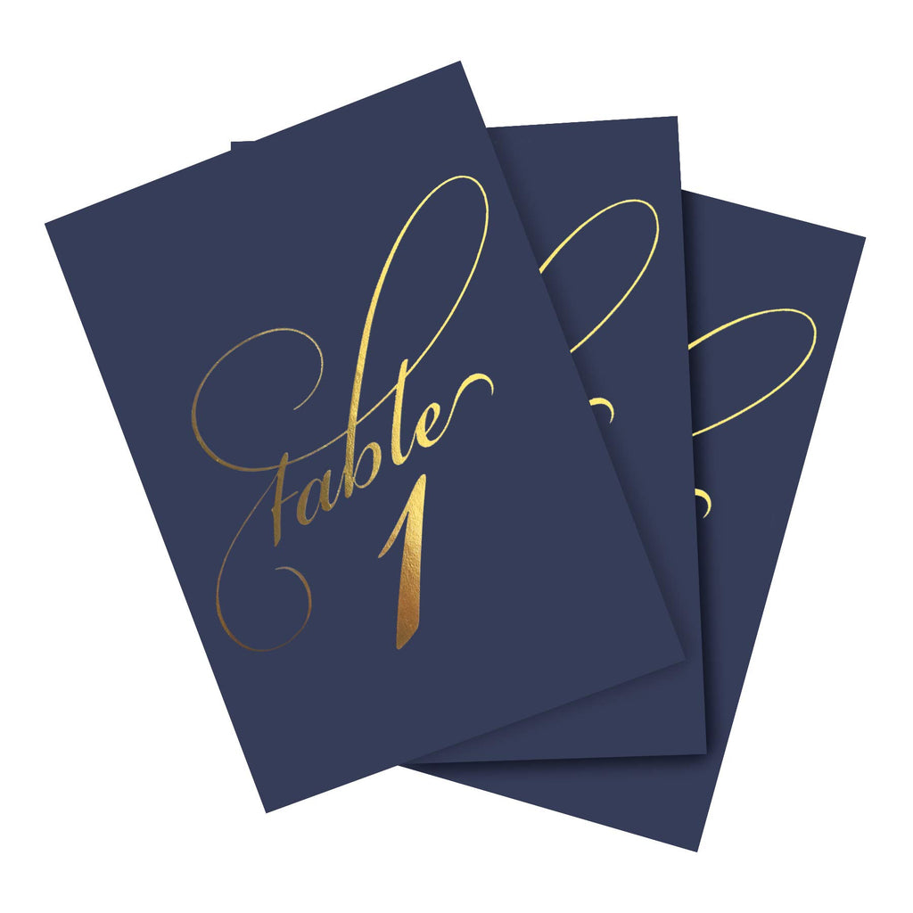 Navy & Gold Wedding Table Numbers (Assorted Color Options Available), Double Sided 4x6 Calligraphy Design, Numbers 1-25 & Head Table Card Included