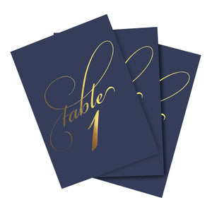 Navy & Gold Wedding Table Numbers (Assorted Color Options Available), Double Sided 4x6 Calligraphy Design, Numbers 1-40 & Head Table Card Included