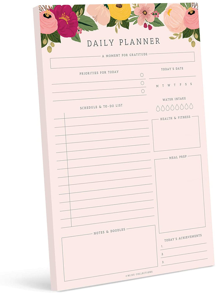 Daily Planner, 50 Undated 6 x 9 Tear-Off Sheets, Blush Floral Calendar