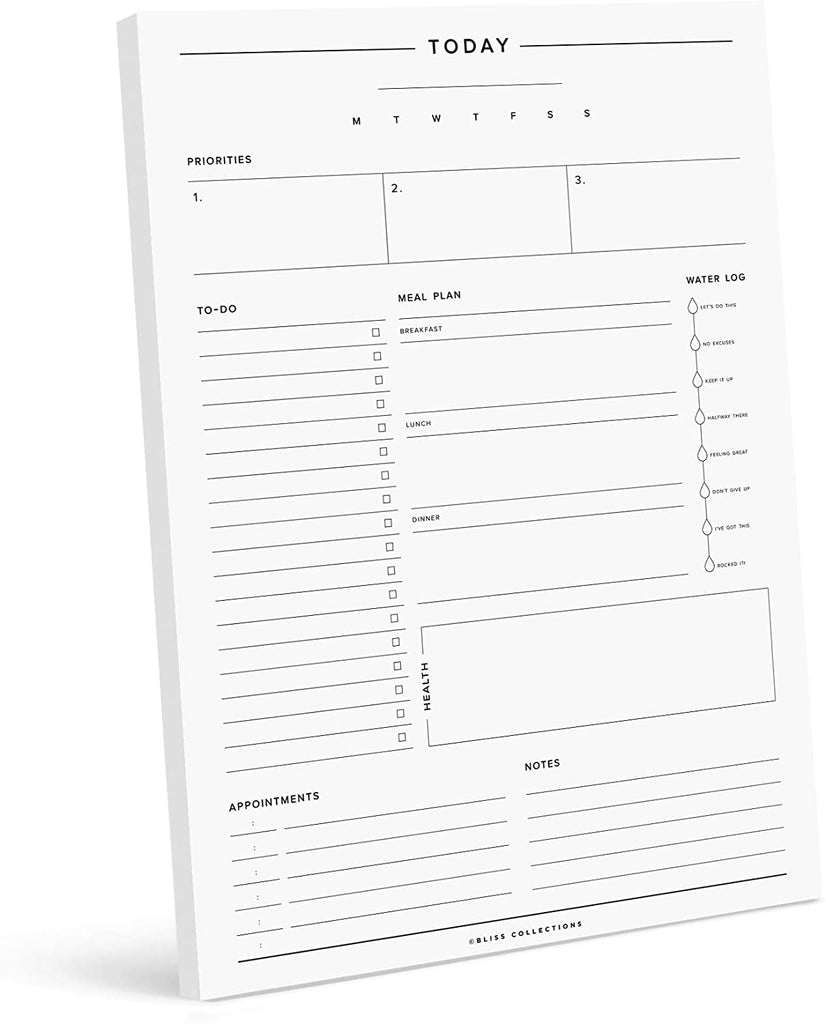 Minimalist Daily Planner, 50 Undated 8.5 x 11 Tear-Off Sheets, Productivity Tracker for Goals, appointments, tasks, Notes & to do Lists. Includes Meal Planner & Fun Water Tracker