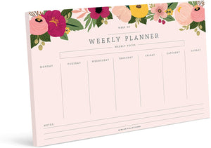 Weekly Planner with 50 Undated Tear Off Sheets, 6x9 Blush Floral Calendar, Organizer, Scheduler, Productivity Tracker for Organizing Goals, Tasks, Ideas, Notes, to Do Lists