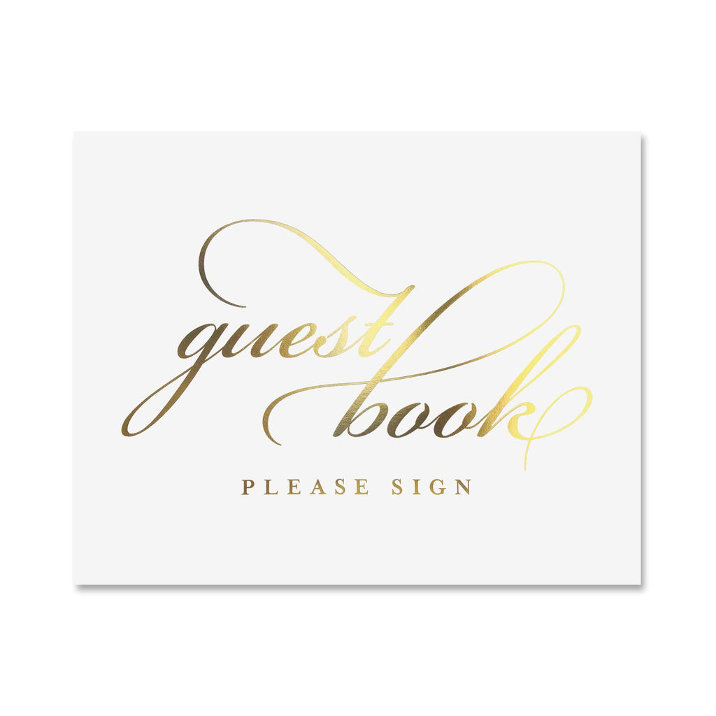 Guest Book Sign for Wedding in Gold Foil - 8x10 Print for Reception, Bridal Shower, Memorial, Funeral or Special Event.