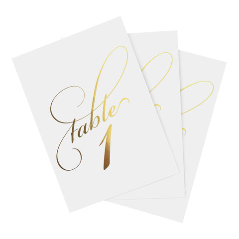 1-25 Gold Foil Table Numbers for any occasion