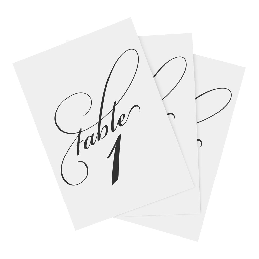 Black Wedding Table Numbers (Assorted Color Options Available), Double Sided 4x6 Calligraphy Design, Numbers 1-25 and Head Table Card Included