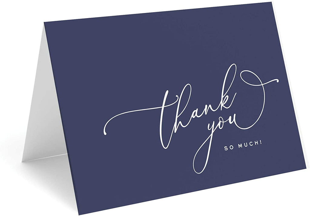 Navy Blue Thank You Cards with Kraft Envelopes, Pack of 25, 4x6 Folded, Tented, Bulk, Perfect for: Wedding, Bridal Shower, Baby Shower, Birthday, or just to say thanks!