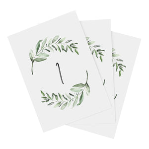 Greenery Wedding Table Numbers, 1-25, Centerpiece Decorations, Double Sided 4x6 Calligraphy Design, Numbers 1-25 & Head Table Card Included — from Bliss Collections