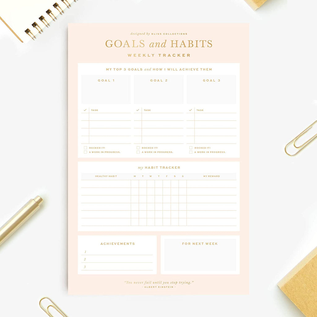 To Do List Notepad with 50 Tear-Off Sheets, 6 x 9 Gold Checklist