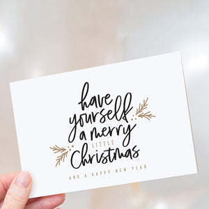 Merry Little Christmas Greeting Cards with Envelopes, 4x6 Folded