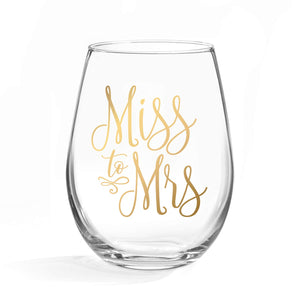 20oz Miss to Mrs Stemless Wine Glass