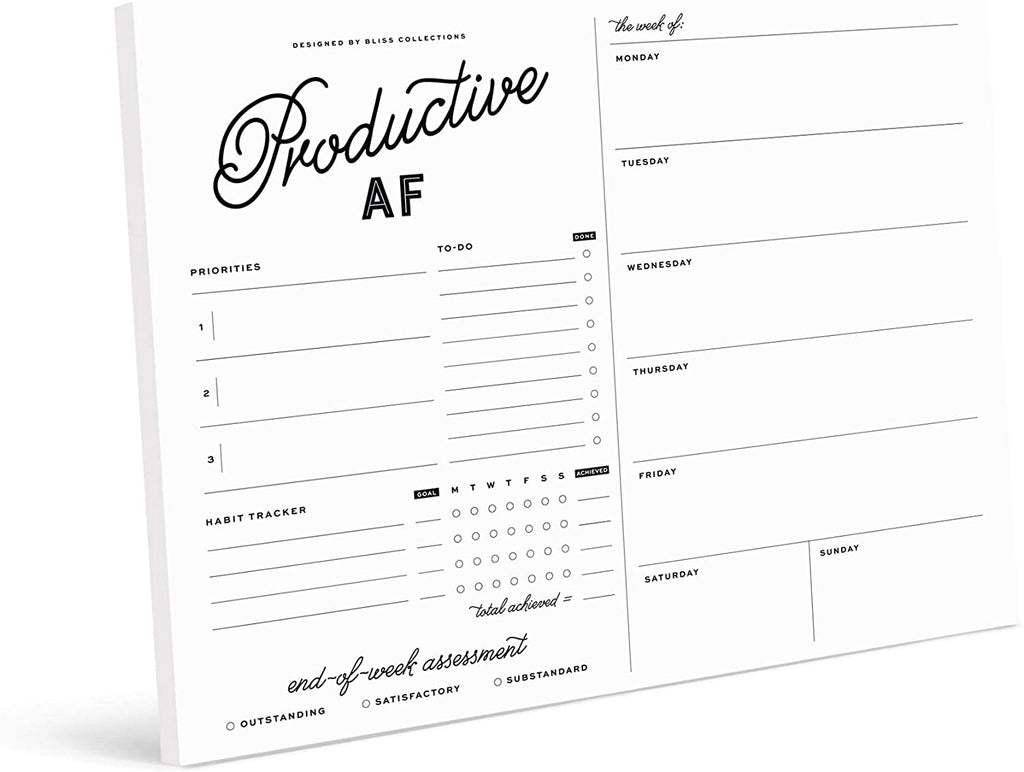 Productive AF Weekly Planner with 50 Undated 8.5 x 11 Tear-Off Sheets