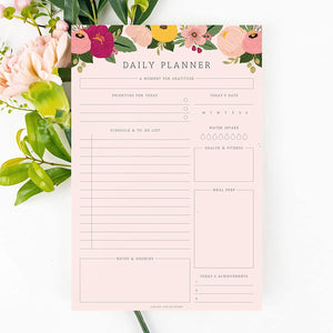 Daily Planner, 50 Undated 6 x 9 Tear-Off Sheets, Blush Floral Calendar, Organizer, Scheduler, Productivity Tracker, Meal Prep, Organize Tasks, Goals, Notes, Ideas, to Do Lists