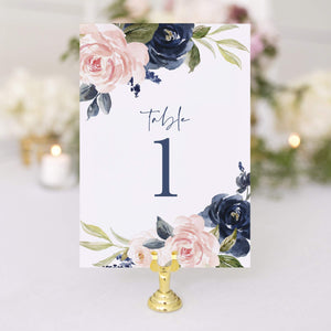 Navy and Pink Wedding Table Numbers, 1-25, Centerpiece Decorations, Double Sided 4x6 Floral Design, Numbers 1-25 & Head Table Card Included
