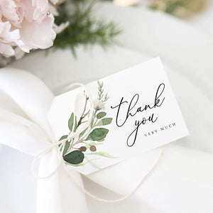 Thank You Gift Tags, 50 Greenery Eucalyptus Gift Tags