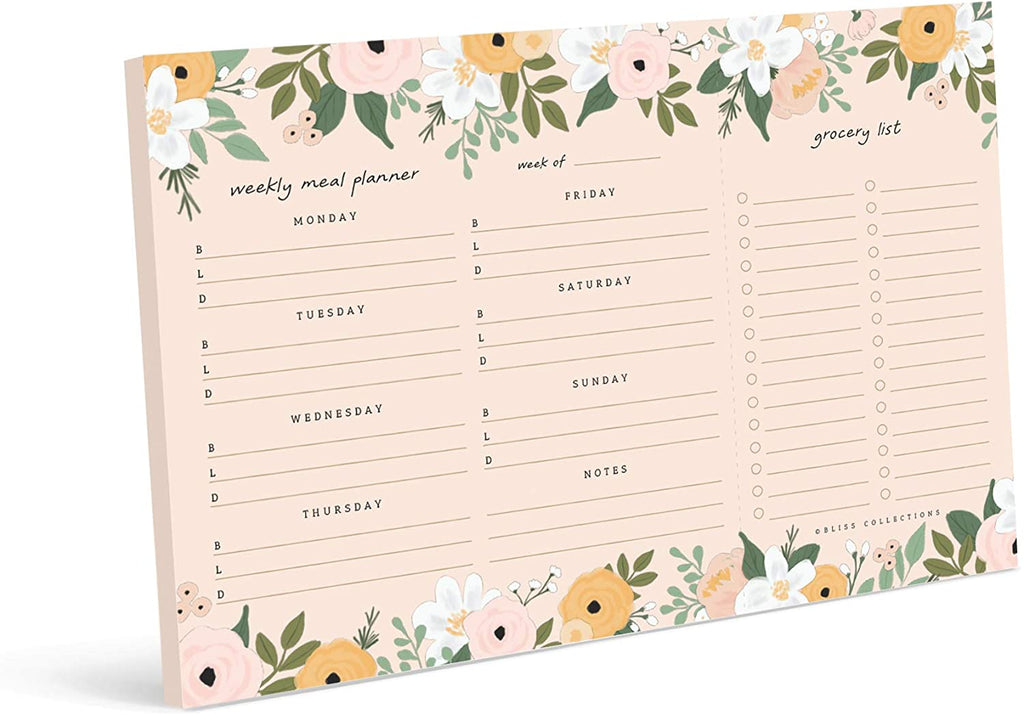 Magnetic Meal Planner Notepad, 50 Sheets - Blossom to Do List and Organizer for Groceries, Meal Prep, Notes and Tasks to Keep You Organized - Easy Tear-Off Sheets Writing Pad