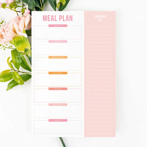 "Magnetic Meal Planner Notepad, 50 Sheets - Shades of Pink 6 x 9"" to Do List and Organizer for Groceries, Meal Prep, Notes, Tasks to Keep You Organized, Easy Tear-Off Sheets"