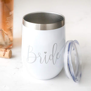12 oz Bride Wine Tumbler with Lid